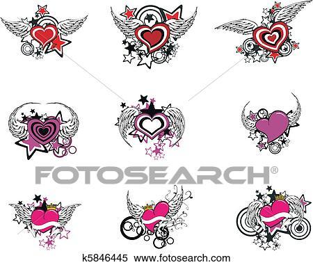 Aile Coeur Dessin Anime Set1 Clipart K5846445 Fotosearch