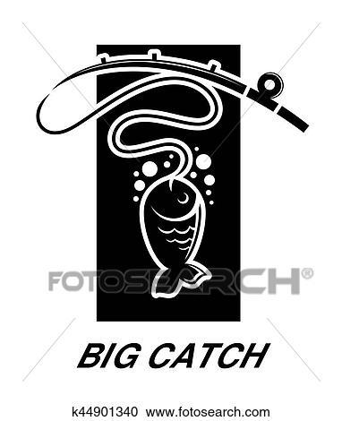 Laden Sie lizenzfreie Fisch zu Haken Logo.