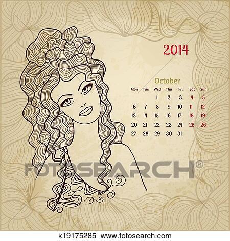 Calendario Artistico.Artistico Vendemmia Calendario Per Ottobre 2014 Woman Beauty Series Clipart