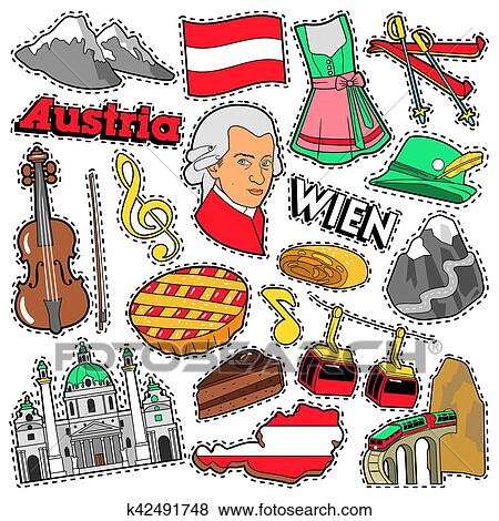 Clip Art Of Austria Travel Scrapbook Stickers Patches Badges For
