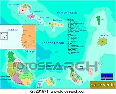 Cape Verde map Clipart | k25261871 | Fotosearch