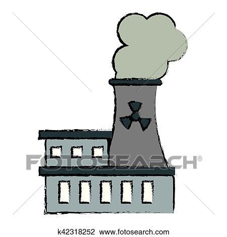 Desenho Central Eletrica Nuclear Energia Poluicao Clipart