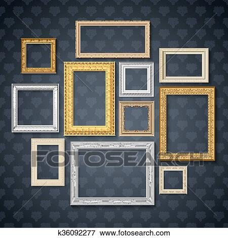 Clip Art Of Frames On Dark Wall Set K36092277 Search Clipart