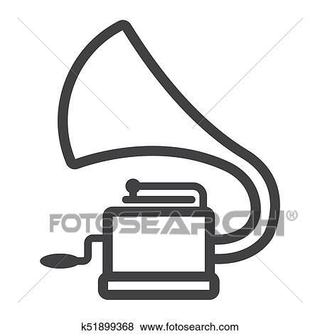 gramophone line icon music and instrument phonograph sign vector graphics a linear pattern on a white background eps 10 clip art k51899368 fotosearch fotosearch