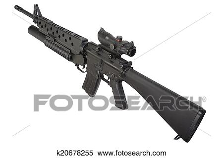 stock image of m16 rifle with an m203 grenade launcher k20678255