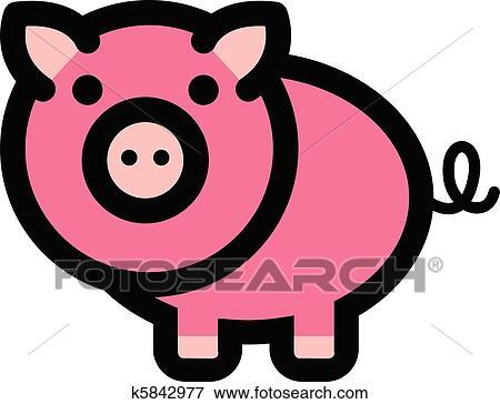 Clipart mignon dessin anim cochon k5842977 - Dessin cochon mignon ...