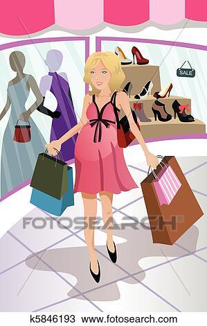 f25f7fa1f6cc Shopping, donna incinta Clipart | k5846193 | Fotosearch
