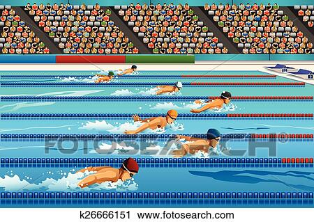 A Vector Illustration Of Swimmers During Swimming Competition For Sport Series