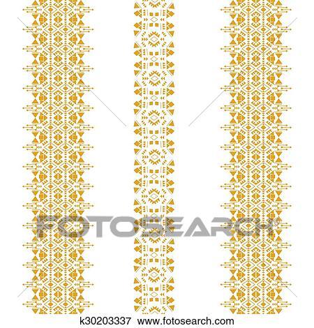 Clip Art - tribal, seamless, patrón, oro, vertical k30203337 ...