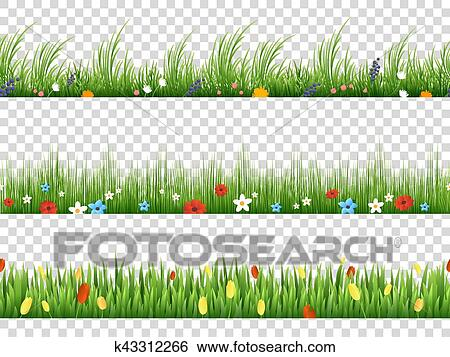 Clip Art Of Vector Green Grass And Spring Flowers Nature Border