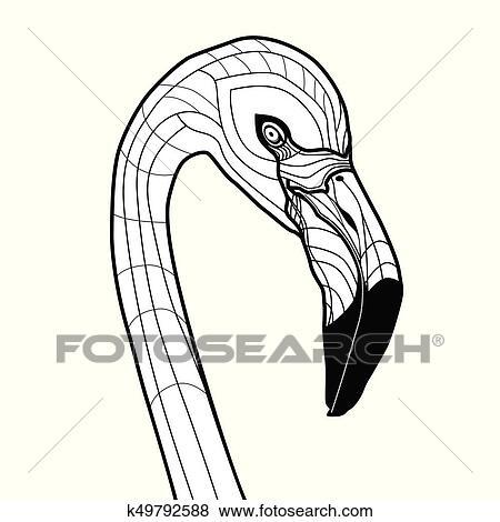 Clip Art Cabeza Pajaro Flamenco Tatuaje Vector Ilustracion