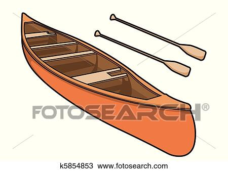 Clipart Of Canoe With Paddle In Vector Illustration K5854853