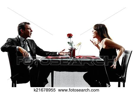 Stock Image Of Couples Lovers Dating Dinner Dispute Arguing