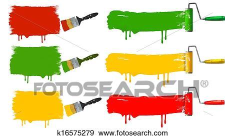 Farbpinsel Und Farbrolle Und Farbe Banners Vektor