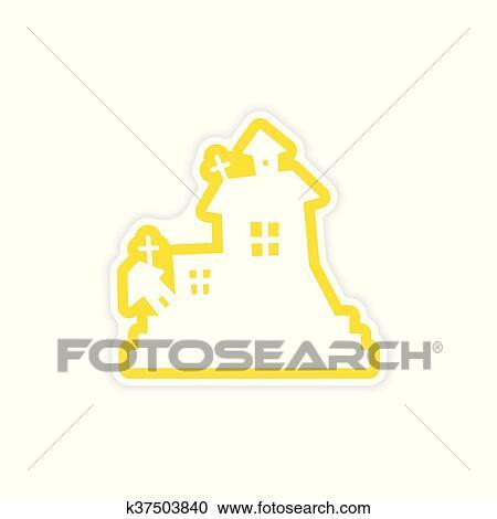 Clipart - icône, autocollant, réaliste, conception, sur, papier ...