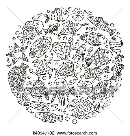 Clipart Kreis Form Muster Mit Fantasie Fische Für