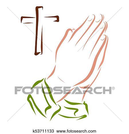 Maos De Um Orando Pessoa E Um Crucifixos Desenho