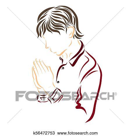 Orando Homem Jovem Esboco Com Liso Colorido Linhas Desenho