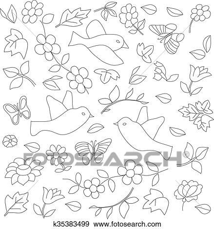 Colección de ilustraciones - pájaro, dibujo, mariposas, y, flores ...