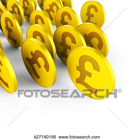 Stock Illustration Of Pound Coins Shows Save Prosperity And Finances