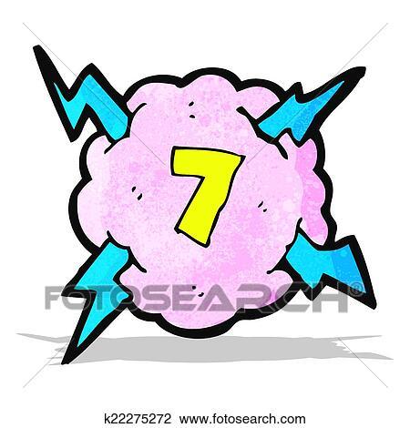 漫画 稲光の嵐 雲 シンボル で ナンバー7 クリップアート