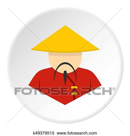 Stock Illustration Of Asian Man In Conical Straw Hat Icon K49379515