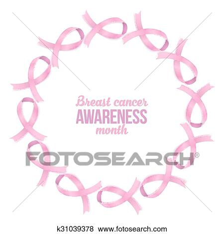 Clip Art Of Breast Cancer Awareness Month Pink Ribbons Round Frame