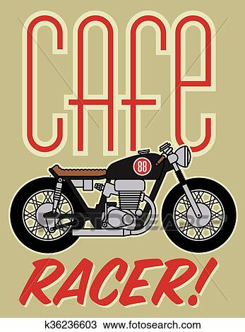 clipart of cafe racer motorcycle design k36236603 search clip art