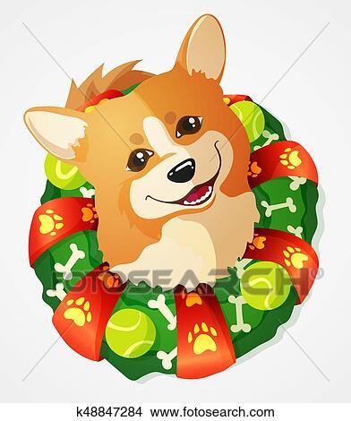 Cute Welsh Corgi Dog And Christmas Wreath Cartoon Vector