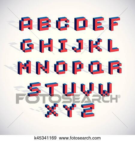 Cybernétique 3d Alphabet Lettres Pixel Art Vecteur Numérique Typescript Pixel éléments Conception Contemporain Pointillé Police Fait