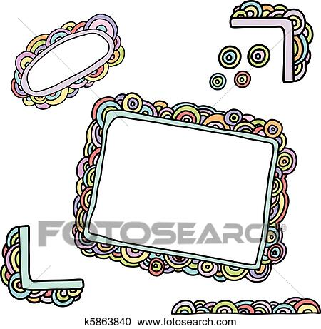 Clipart Of Doodle Rainbow Frames K5863840 Search Clip Art