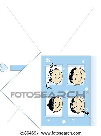 Clipart - famille heureuse, à, propre, maison, sourire, ensemble ...