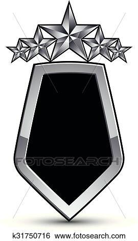 Festivo, negro, vector, emblema, con, contorno, y, cinco, plata,  decorativo, pentagonal, estrellas, 3d, real, conceptual, elemento del  diseño, claro,