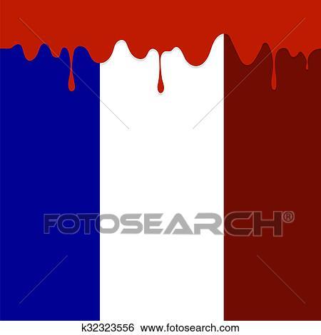 Flag of France and Blood Splatter  Stock Illustration