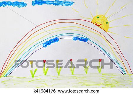 Infantil Desenho De Flores E Arco Iris Arquivo Fotograficos