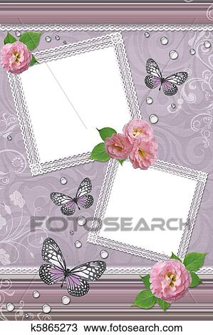 Drawing of Laces frames with roses, butterfly, drops k5865273 ...