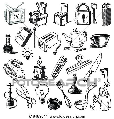Clipart - ménage, maison, objets, collection k18489044 ...