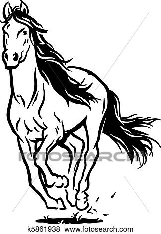 clip art of running horse k5861938 search clipart illustration rh fotosearch com Horse Race Track Clip Art Drawings of Horses Running
