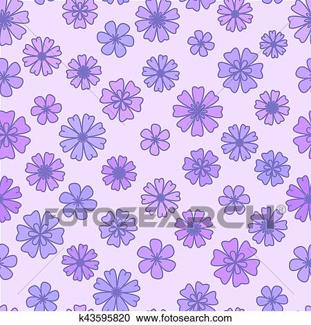 Clipart Of Seamless Flat Violet Flower Background Vector Floral
