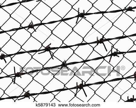 Stock Photo of barbed wire fence isolated on white k5879143 - Search ...