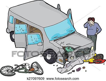 Clip Art of Bicycle Versus Car Accident k27097609 - Search Clipart ...