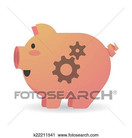 Cartone animato maiale con ingranaggi clipart k