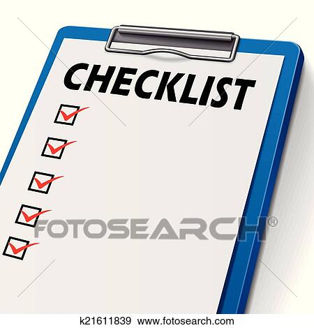 clip art checklist clipboard fotosearch search clipart illustration posters drawings