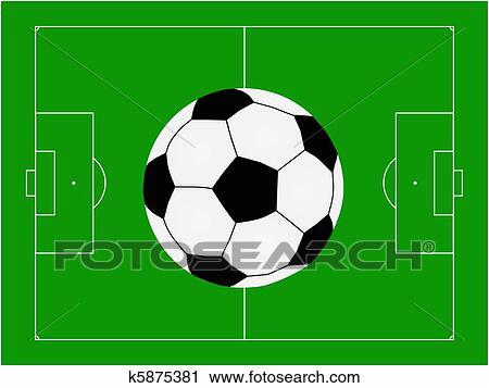 Fussballplatz Mit Kugel Clipart K5875381 Fotosearch
