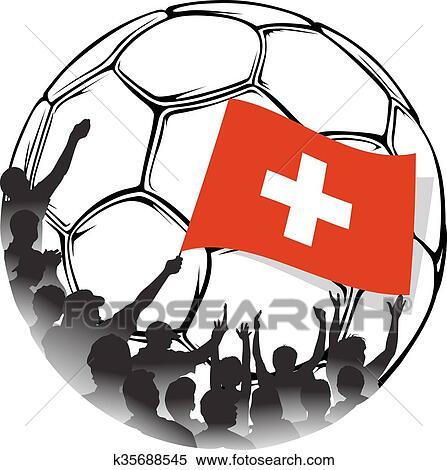 Fussballfans Schweiz Clipart K35688545 Fotosearch