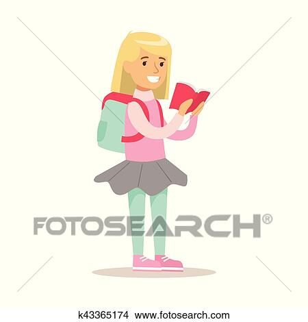 Clipart Girl A Sac A Dos Qui Amours Lire Illustration A