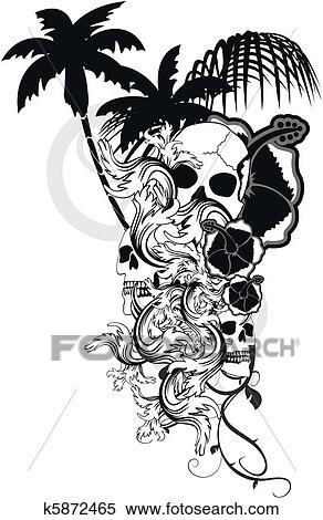 Clipart Of Hawaiian Skull Ornament8 K5872465