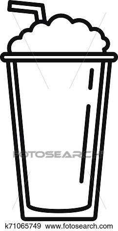 Ice coffee cup icon, outline style Clip Art | k71065749 ...
