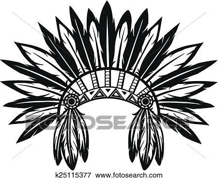 clip art of indian headdress k25115377 search clipart rh fotosearch com indian headdress clipart black and white Purple Indian Headdress Clip Art