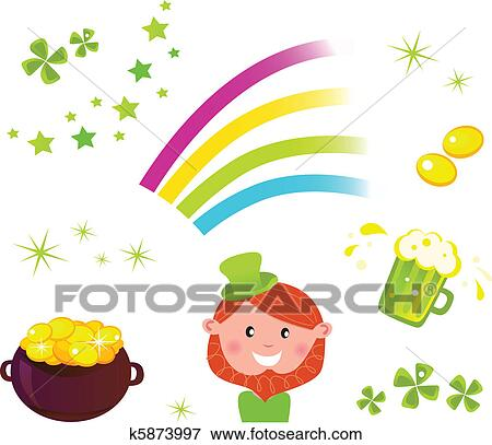 Clip Art Of Irish And St Patricks Day Symbols And Icons Set